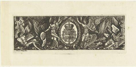 Franz Ertinger   Fries met wapentrofeëen, Franz Ertinger, Anonymous, 1650 - 1696   In het midden staan twee engelen naast een lauwerkrans waarin het wapenschild van de Spaanse koning is verwerkt.