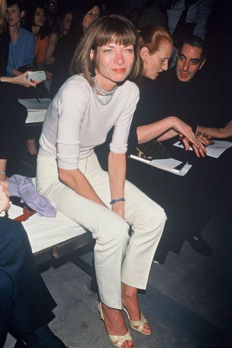 Anna Wintour lors d'un défilé de mode à New-York en 1993