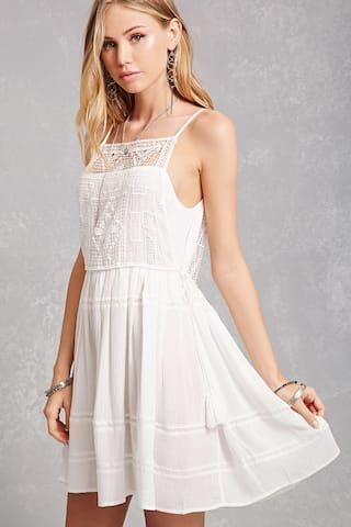 Under 100 Forever 21 Floral Crochet Mini Dress White Mini Dress Engagement Party Dresses Little White Dresses
