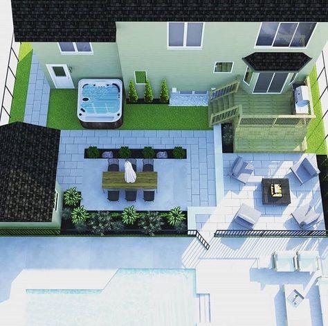 Plan d\u0027aménagement extérieur 3D Inspiration cours arrière Solarium