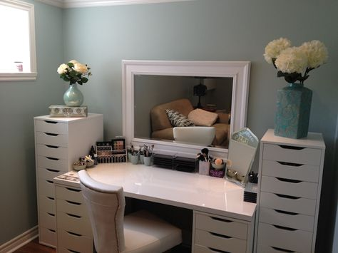 Maggie's Makeup: storage. Cover and paint the plain plastic bins