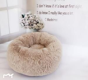 Round Plush Cat Bed House Soft Long Plush Cat Bed Round Pet Dog Bed For Small Dogs Cats Nest Winter Warm Sleeping Bed Puppy Mat Soft Dog Beds Fleece Dog Bed