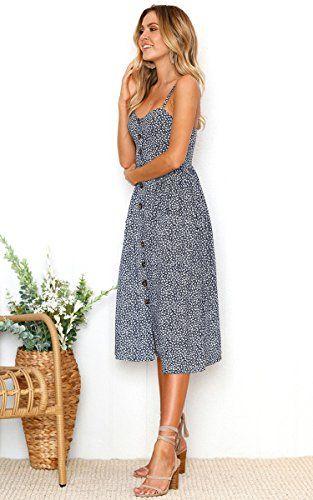 e78783aa0b258 Angashion Women's Dresses-Summer Floral Bohemian Spaghetti Strap ...
