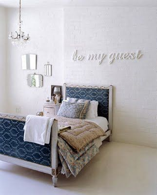 """""""be my guest"""" -- cute idea for a guest bedroom"""