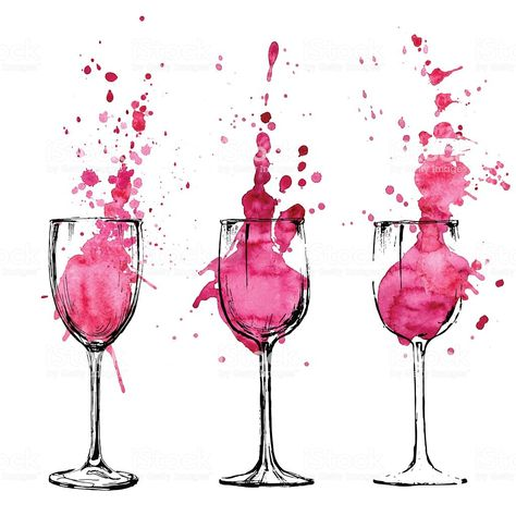 Sketched illustration of wine spilling out of their glasses - Royalty-free 2015 stock vector