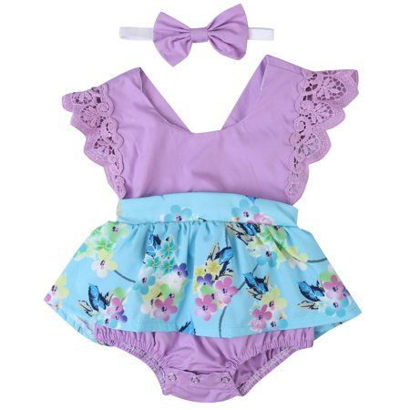 cotton baby playsuit purple romper Baby girl outfit