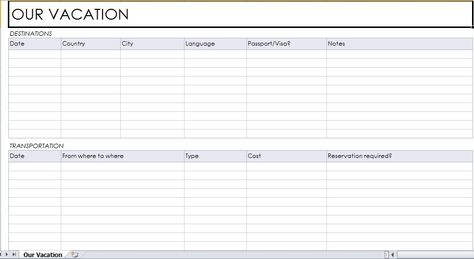 Vacation Planner Template | Excel Templates | Pinterest | Planner
