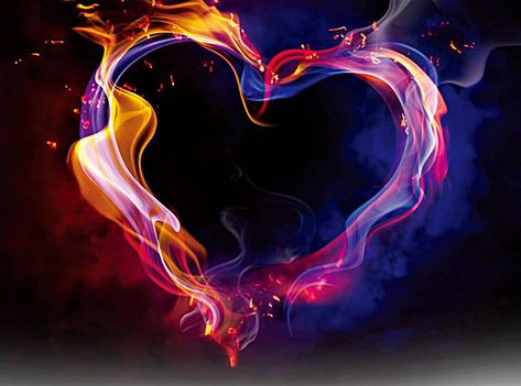 Heart-shaped colored smoke background material