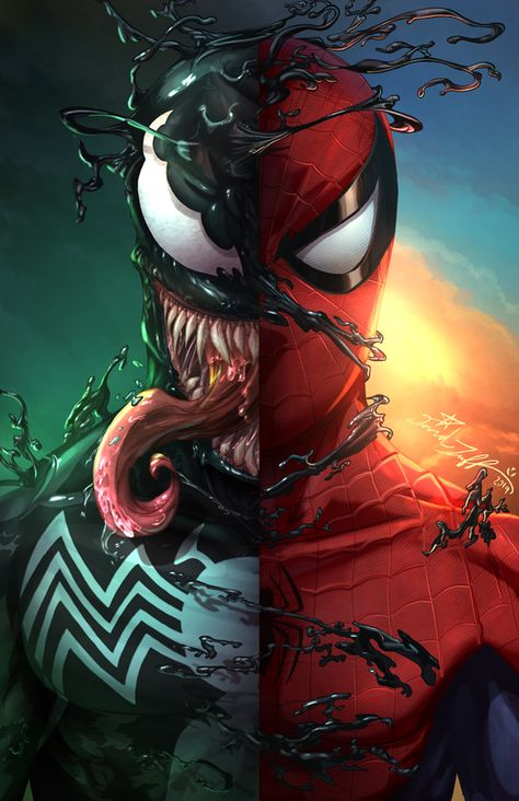 """""""Spiderman / Venom"""" Art Print sold by Hectic. Shop more products from Hectic on Storenvy, the home of independent small businesses all over the world. Spiderman Pictures, Spiderman Art, Amazing Spiderman, Venom Pictures, Venom Spiderman, Venom Comics, Marvel Comics Art, Marvel Heroes, Ms Marvel"""
