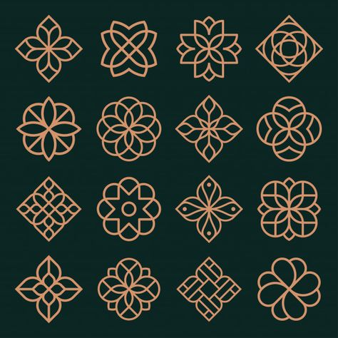 Ornament logo and icon design set. Icon Design, Design Set, Logo Design, Branding Design, Vector Design, Islamic Art Pattern, Pattern Art, Pattern Design, Arabic Pattern