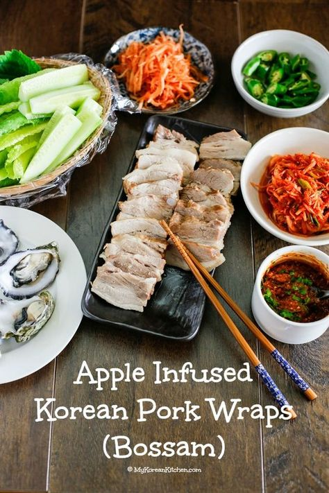 How to make Korean pork wraps (Bossam). This recipe version include apple and soy sauce to enhance the overall flavour and colour of the dish! It's tender and delicious! | MyKoreanKitchen.com