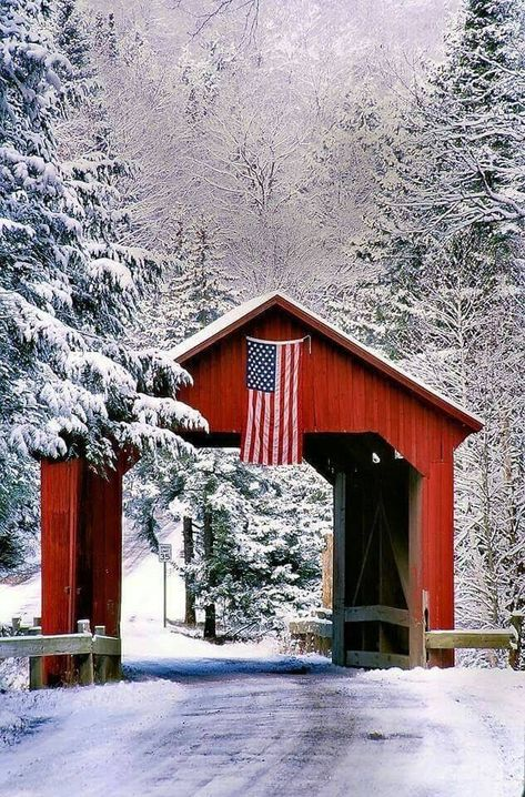 Red, White and Blue by john knox on Capture My Vermont // Winter shot of Stony Brook Bridge in Northfield. I went to the bridge because of the snow cover and the red bridge and was totally surprised to find the flag attached to the bridge. Snow Scenes, Winter Scenes, Vermont Winter, Old Barns, Covered Bridges, Beautiful Landscapes, New England, Red And White, Places To Go