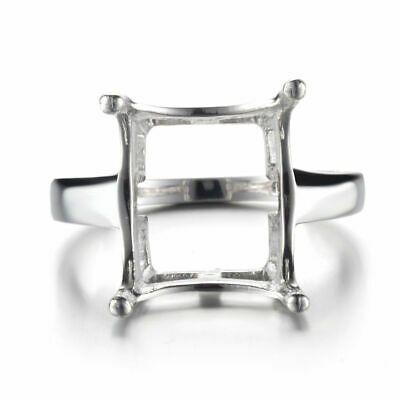 14x12MM EMERALD CUT SEMI MOUNT NATURAL DIAMOND 925 STERLING SILVER FINE RING