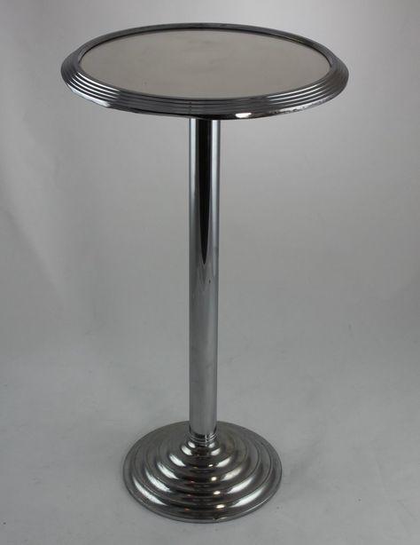 Art Deco Tisch Beistelltisch Spiegeltisch Chrom