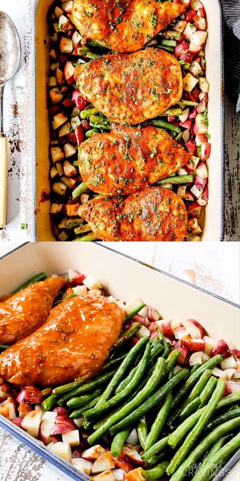 Honey Mustard Chicken baked with potatoes and green beans in ONE PAN for a flavor bursting meal-in-one OR just bake the chicken for a super easy dinner!