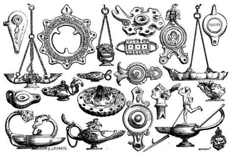 Lamps of Earthenware and Bronze found at Pompeii