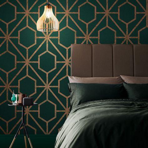 Graham & Brown Rinku Green & Copper Wallpaper