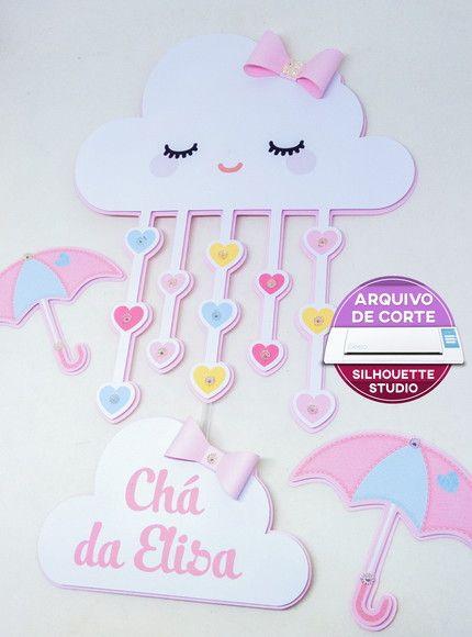 340 Topo De Bolo Chuva De Amor Arquivo Silhouette Studio