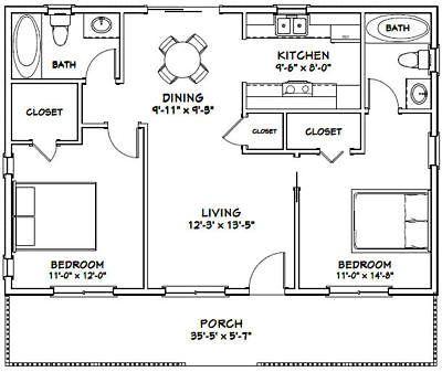 36x24 House 2 Bedroom 2 Bath 864 Sq Ft Pdf Floor Plan Model 3a Ebay Floor Plans Tiny House Plans Apartment Floor Plans