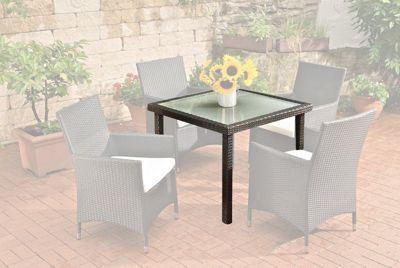 Gartentisch alu 90x90  Poly-Rattan Garten-Tisch RIO, 90 x 90 cm, Esstisch Höhe 75 cm, ALU ...