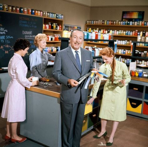 Walt going through paint swatches. There are over 20,000 paint colors used in the Disney parks.   [For more Disney news, tips, secrets, facts, pics and more, please visit my Disney blog:  http://grown-up-disney-kid.tumblr.com/ ]