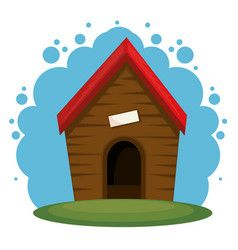 Wooden Dog House Set Dogs Kennel Cartoon Vector Image On Wooden