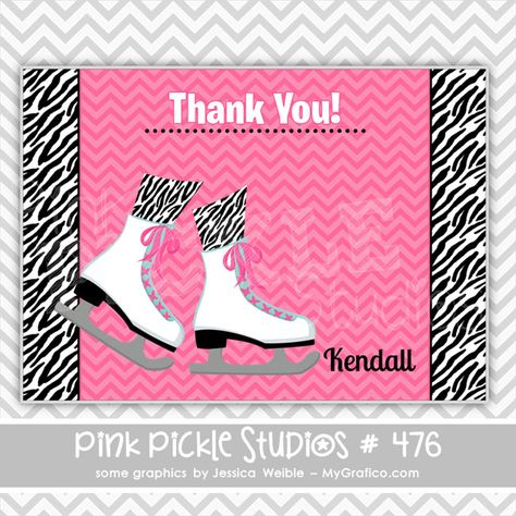 Zebra Print Pink Personalized Party Thank You Cards