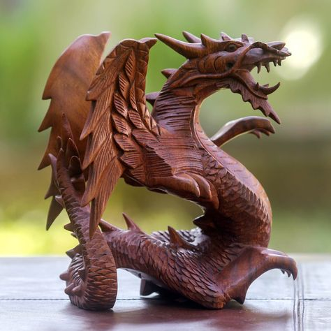 Hand Carved Wood Sculpture, 'Winged Dragon'