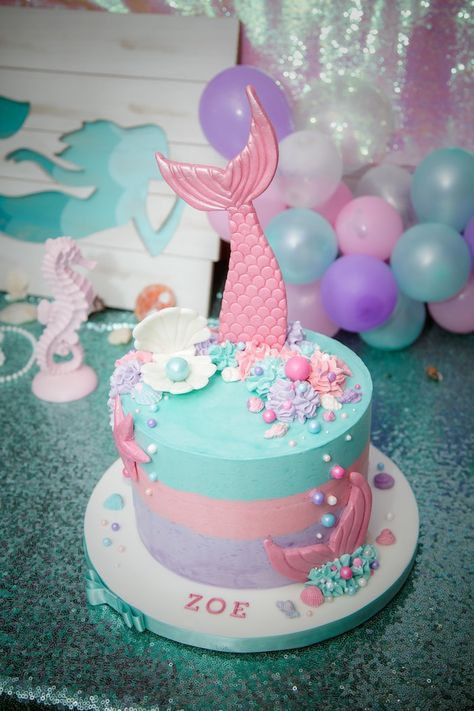 Mermaid Cake from a Shimmering Mermaid Birthday Party on Kara's Party Ideas   KarasPartyIdeas.com (12)