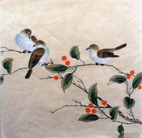 Excited to share this item from my #etsy shop: 100% Hand painted,Original Gongbi painting,bird and flower,Cherries and birds,watercolor painting,wall art,Chinese ink wash painting,34x34cm