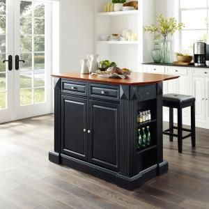 Crosley Oxford Black Kitchen Island With Butcher Block Top Kf30006bk The Home Depot In 2020 Black Kitchen Island Solid Wood Kitchen Cabinets Black Kitchens