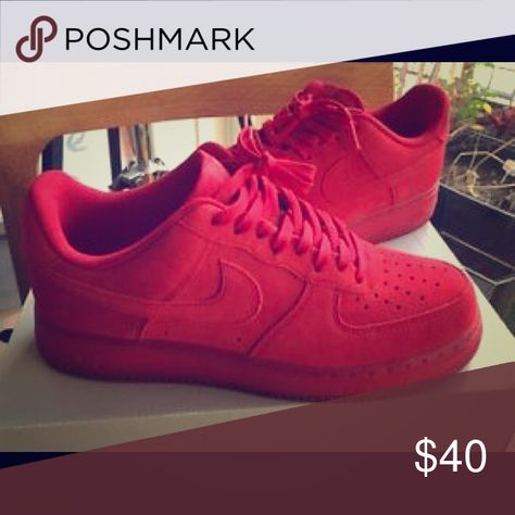 LEATHER red bottom Nike Air Force 1 lows. Great condition