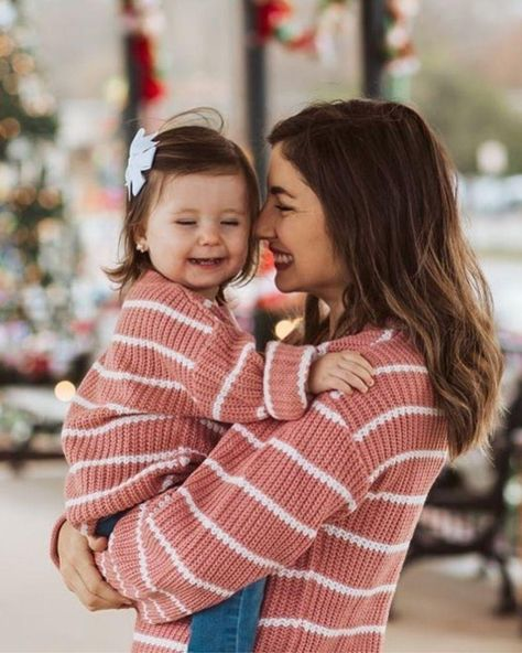 Brooke Mommy & Me Sweater-Dusty Mauve and White Striped   Bailey's Blossoms