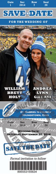 """Measuring 9.25"""" x 3"""", our Football Ticket Save the Dates are the largest on the market and are custom designed, printed in either  card stock or magnet for under $2.00 each!  Order today!  #stwdotcom  #footballwedding"""