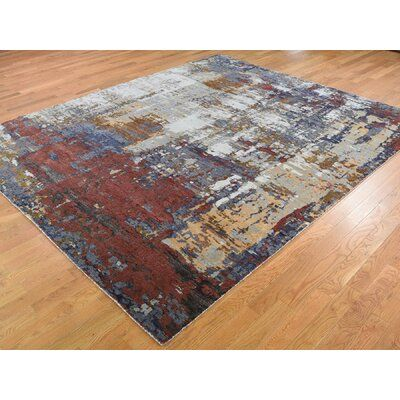 17 Stories One Of A Kind Roanoke Hand Knotted 8 2 X 9 10 Wool Silk Gray Area Rug In 2020 Area Rugs Rugs Navy Blue Area Rug