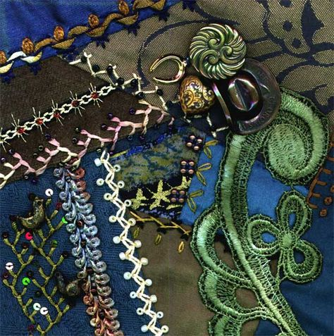 I dropped the button box - crazy quilt block .....she has great how to's for every stich on each block of her quilt and explains what stiches she used for each seam treatment