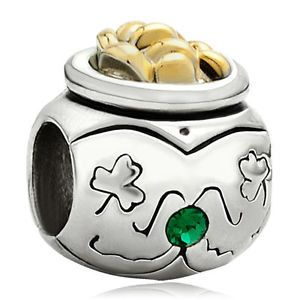 Authentic Pugster Brand Green Spacer with Gold Accents