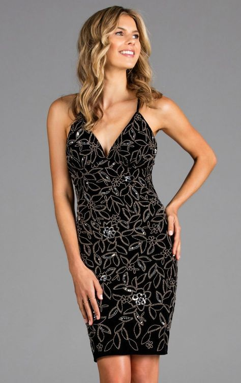 Scala - 48910 Sequined V-Neck Fitted Cocktail Dress#cocktail #dress #fitted #scala #sequined #vneck