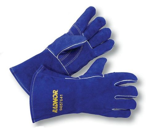 MCR Safety 4500 13-Inch Memphis Split Cow Leather Welder Mens Gloves with Self Hemmed Cuff X-Large 1-Pair Blue