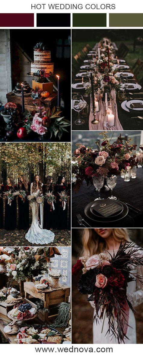 Moody wedding color ideas #weddings #wedding #weddingcolor #weddingideas #weddinginspirations #moodywedding #bridesmaiddress #fallwedding #winterwedding #burgundywedding