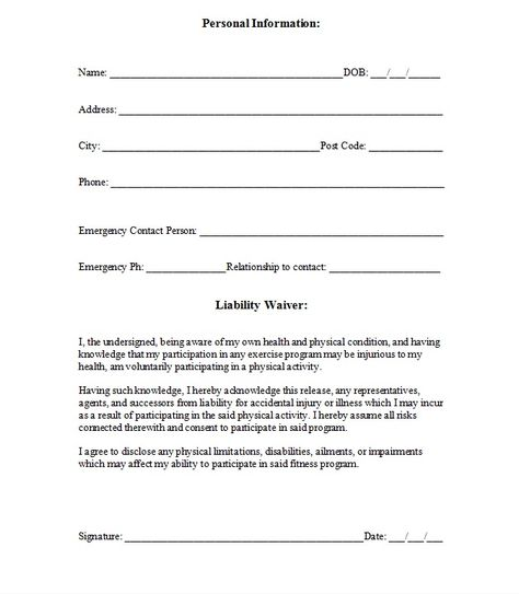 Free Printable Release And Waiver Of Liability Agreement Form
