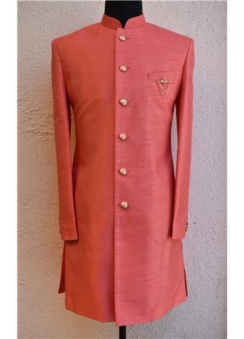 Vastraas Designer Light Pink Ethnic Stylish White Bandhgala Achkan Style Indo Western For Men
