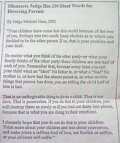 Great letter\/advice from Judge for divorced\/divorcing parents - disapproval letter