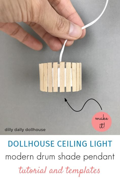 Tutorial on making a modern dollhouse ceiling light. It can be adapted to take a light bulb, or simply add a hanging cord for a non-working light. Dollhouse Miniature Tutorials, Miniature Dolls, Miniature Crafts, Diy Dollhouse Miniatures, Miniature Kitchen, Barbie House Furniture, Modern Dollhouse Furniture, Furniture Ideas, Muñeca Diy