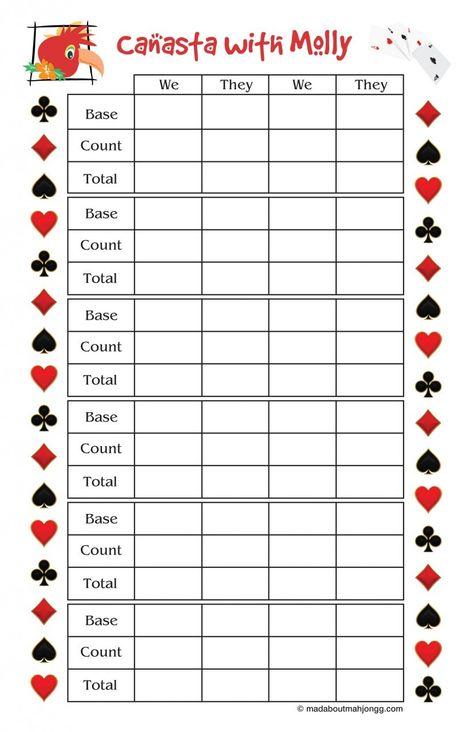 Mad About Mah Jongg - Personalized Canasta Score Pad, $1500 (  - canasta score sheet template