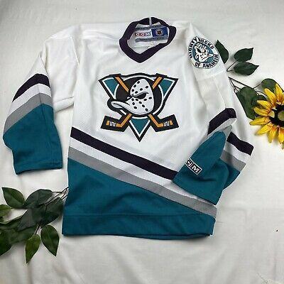 Vtg 90s Ccm Nhl Anaheim Mighty Ducks Hockey Jersey Youth L Xl Disney Sewn Ebay Ducks Hockey Hockey Jersey Nhl