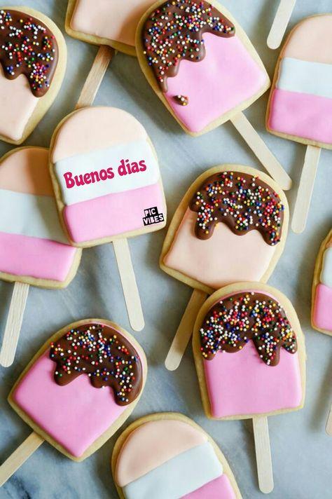صباح الخير بالاسباني Ice Cream Pops Decorated Cookies Tutorial Cookie Tutorials