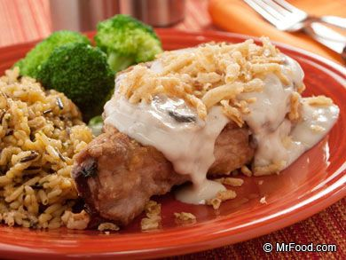 Mushroom Pork Chops - The ultimate family dinner recipe. It cooks up in only about 30 minutes and uses under 10 ingredients (including French fried onions!). Serve with a side of rice for the perfect, quick & easy pork chop dinner.