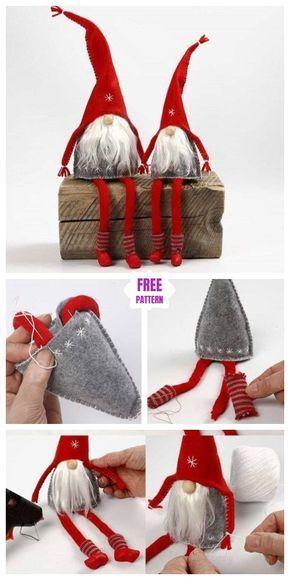 Diy Christms Felt Gnome Sew Free Pattern Tutorial Felt Christmas Ornaments Xmas Crafts Christmas Diy