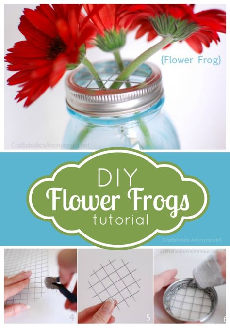 DIY mason jar flower frogs lid tutorial. Perfect for summer blooms!